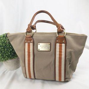 Michael Kors zip top canvas handbag cotton satchel
